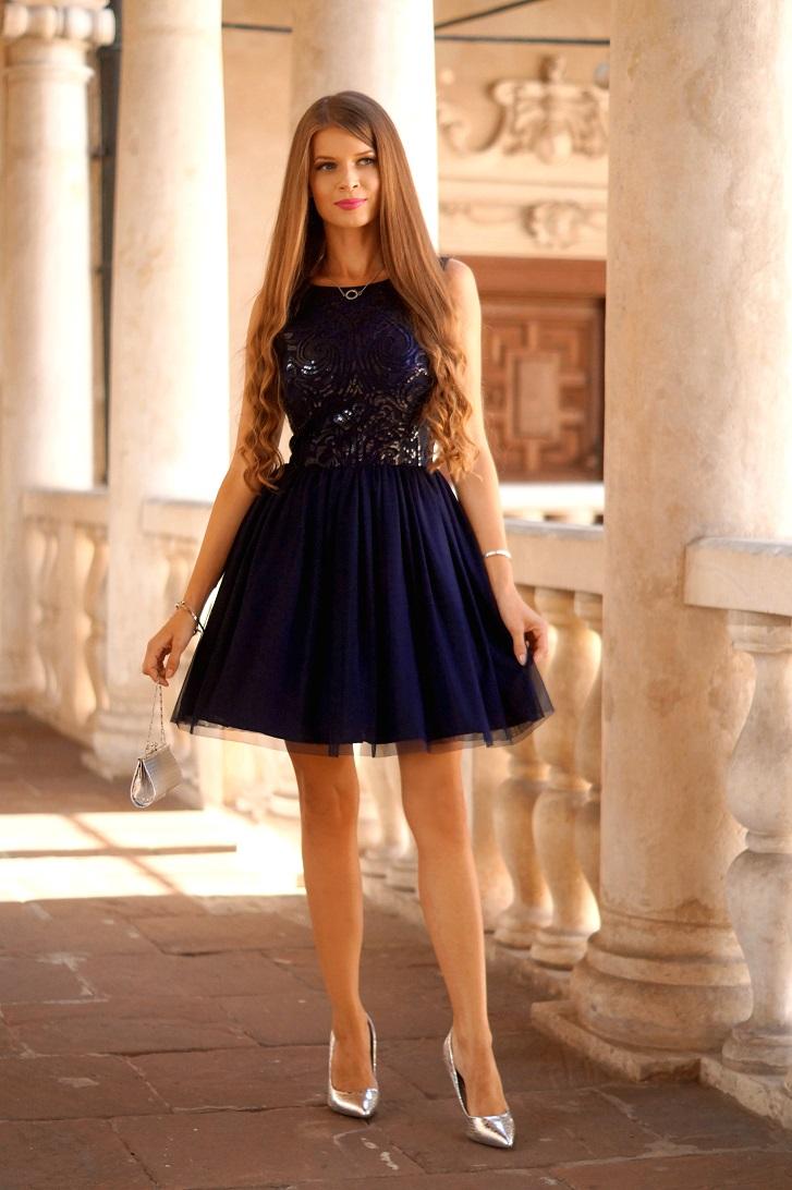 Only My Fashion Style Granatowa Sukienka Z Cekinow G R