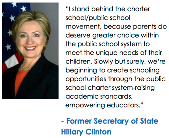 Clinton cheerleaders claiming she isn't in the corporate charter camp?