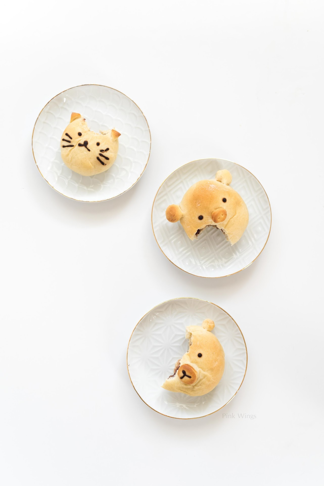 kawaii food recipes, animal bread, kids party food ideas, bear, cat, pig, themed parties