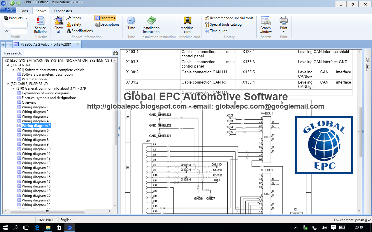 GLOBAL EPC AUTOMOTIVE SOFTWARE VOLVO PROSIS OFFLINE 2015 EPC REPAIR