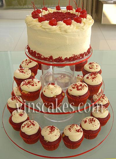 Red Velvet Cake Cupcake In Tier