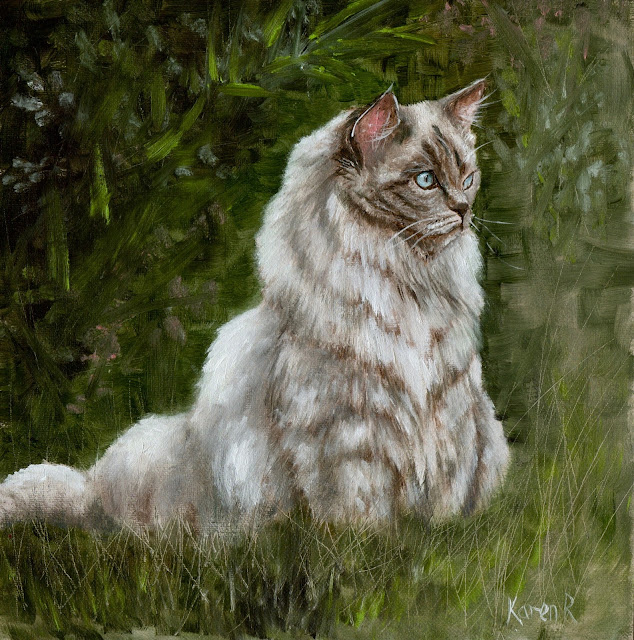 oil painting of a long-haired grey cat