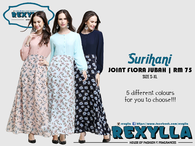 rexylla, joint flora, flora jubah, surihani collection