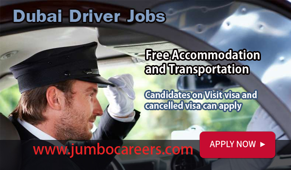 UAE driver job opportunity with accommodation, Dubai jobs with salary AED3000,