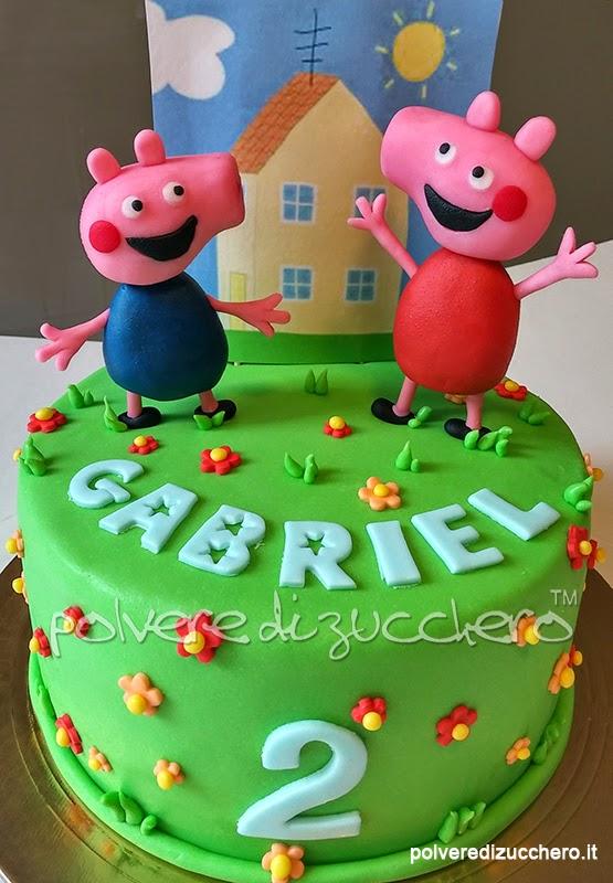 Torta Decorata Peppa Pig E George E La Casa Sulla Collina Polvere