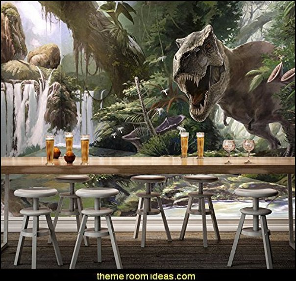 3D Dinosaur Waterfall Forest 077 Wall Paper Wall Print Decal Wall Deco Indoor wall Murals