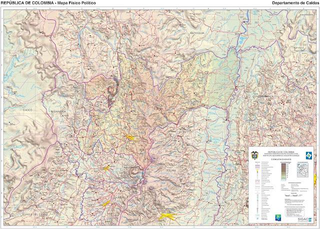 Mapa da Colômbia - Departamento de Caldas