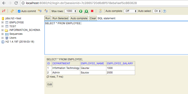 Restful API using Spring Rest + Spring Data JPA + H2 with