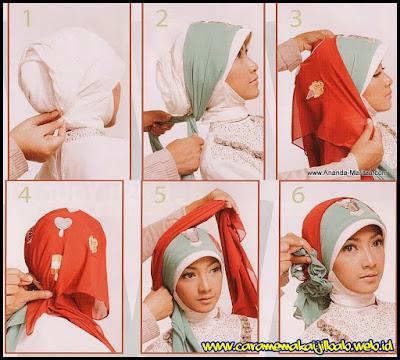 Tutorial Hijab Pengantin Pashmina 2 Warna untuk Resepsi Pesta Pernikahan cocok juga untuk Akad Nikah