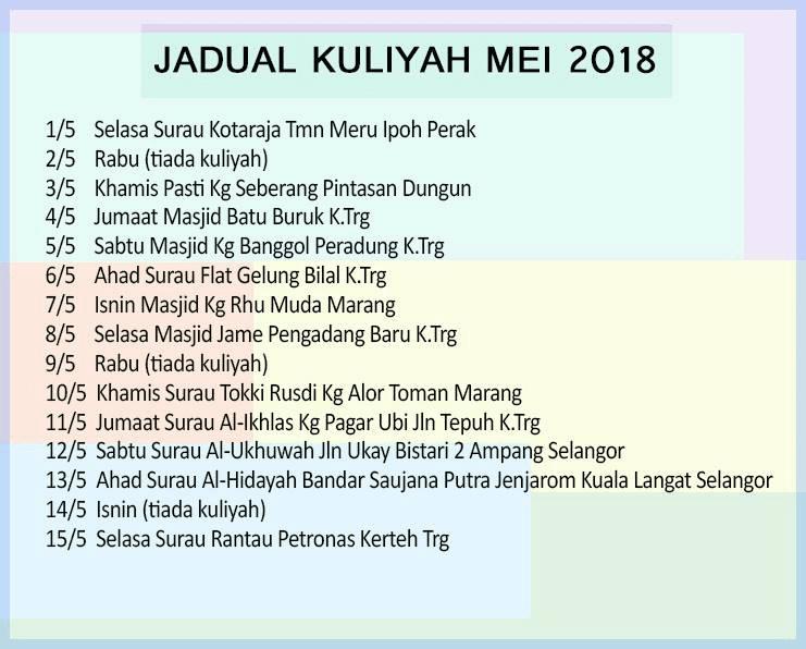 Jadual Kuliah uai bulan mei 2018