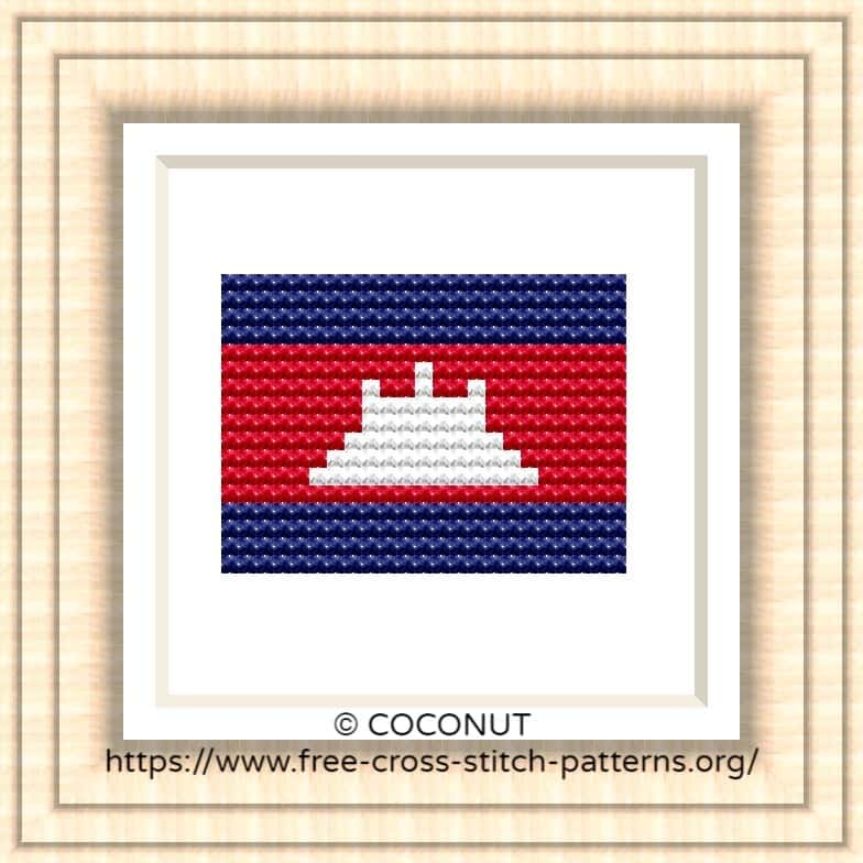NATIONAL FLAG OF CAMBODIA CROSS STITCH CHART