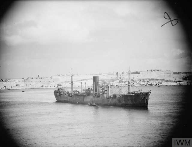 Freighter Clan Ferguson entering Malta's Grand Harbour on 19 January 1942 worldwartwo.filminepctor.com