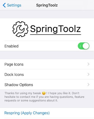After installing this SpringToolz tweak you can have an options to configure in the tweak preferences via Settings