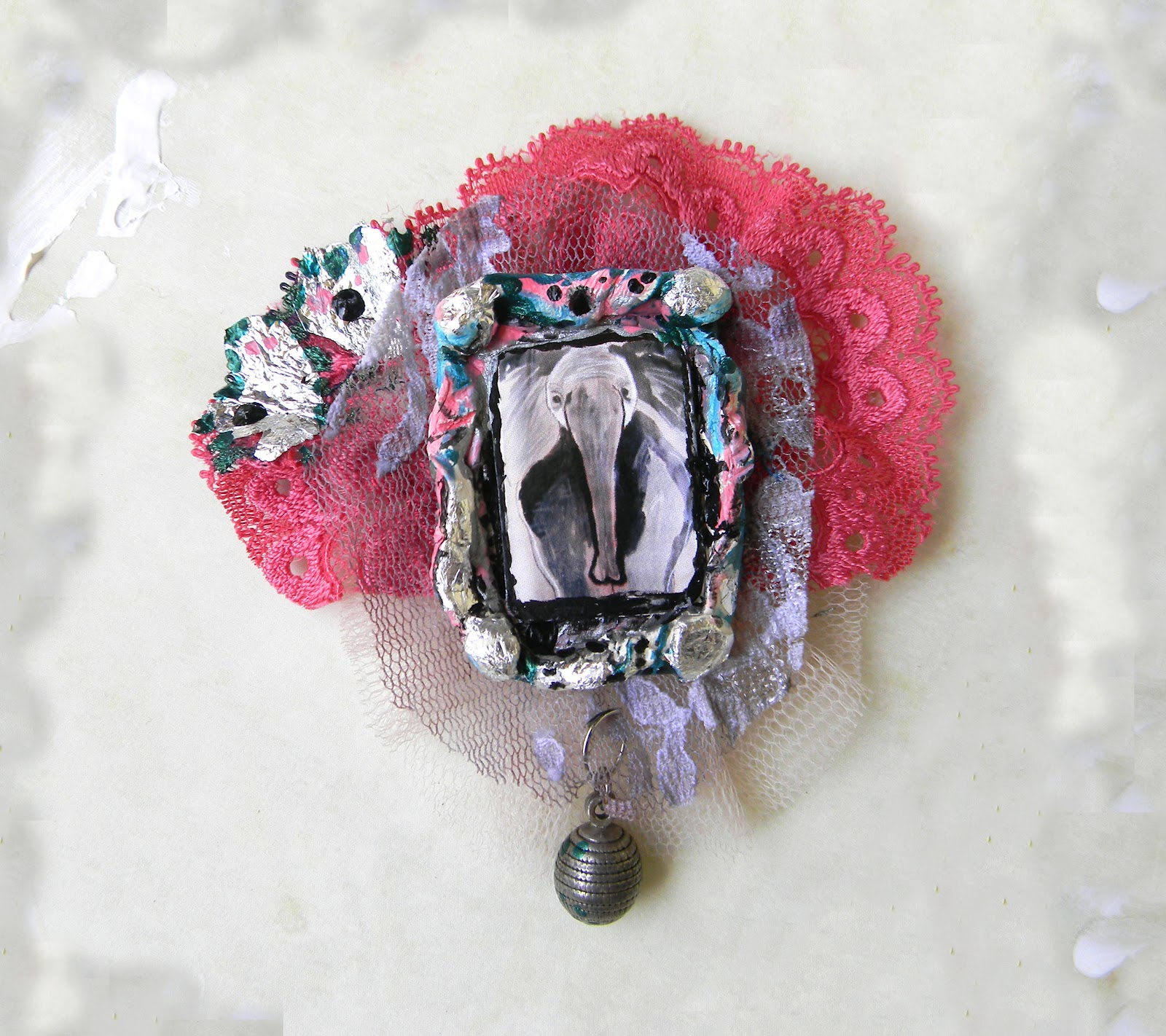 """Colorful Africa"" Brooch with Elephant Print"