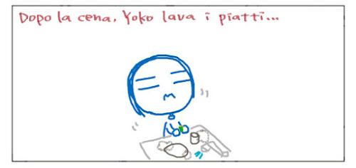 Dopo la cena, Yoko lava i piatti...
