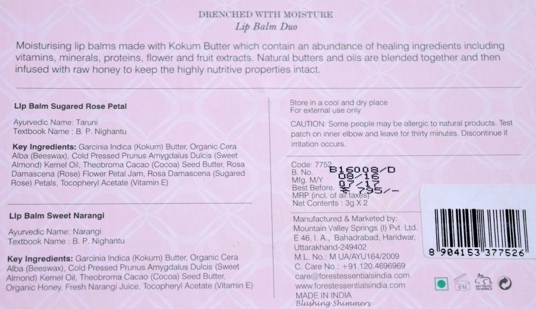 Forest Essentials Lip Balm Duo : Sugared Rose Petal , Sweet Narangi