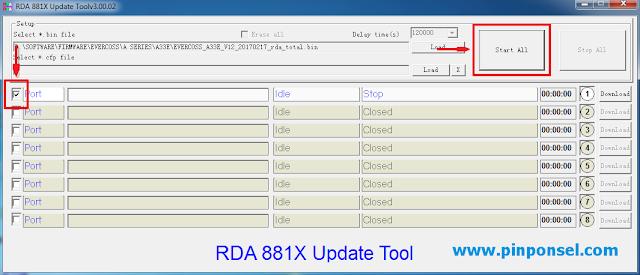 Centang port dan klik download untuk Cara Flash Evercoss A33C Menggunakan RDA 881X Tool