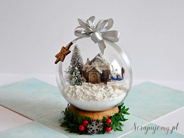 bombka z domem w środku, bombka ze światem w środku, bombka przestrzeenna, ozdoby świąteczne