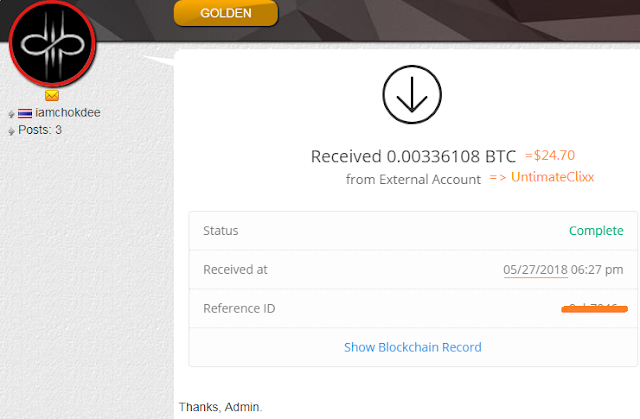 My payment from UntimateClixx