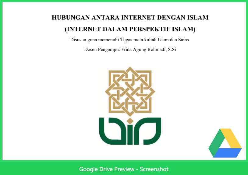 Contoh Makalah Agama Tentang Hubungan Antara Internet Dengan Islam
