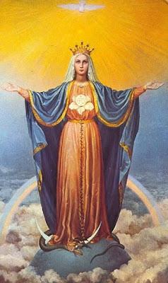 La Virgen Maria sobre el globo Terraqueo, el cuarto creciente lunar y pisando a la serpiente.