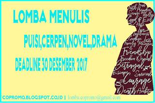 Lomba Menulis Karya Sastra : Puisi,Cerpen,Novel,Drama Bertema Bebas