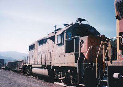 Southern Pacific GP38-2 #4843 in Oakridge, Oregon, in 1996