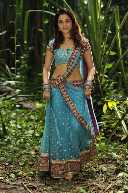 Tamannaah Bhatia Navel Hip Stills In Blue Half Saree