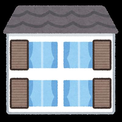 雨戸が空いた家のイラスト
