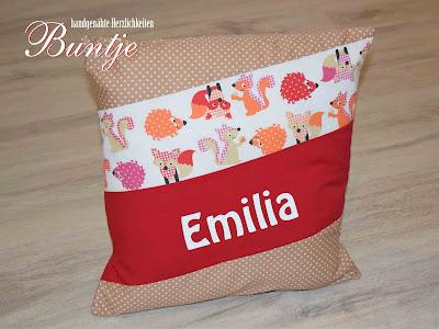 Geschenk Geburt Taufe Kindergarten Namenskissen Kissen Name Mädchen Emilia Waldtiere Igel Fuchs Eule Eichhörnchen rot beige braun