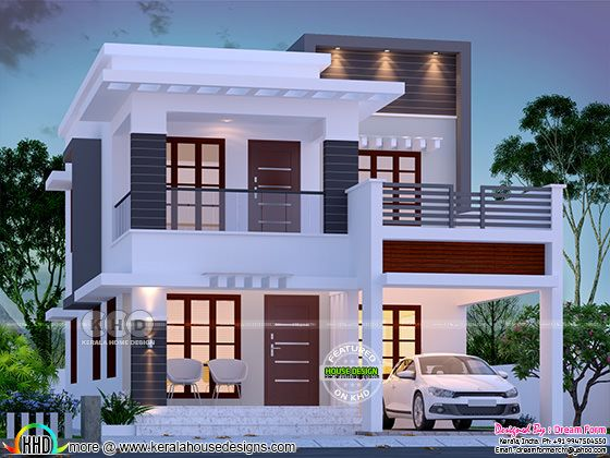 1755 square feet 3 bedroom modern style double storied house