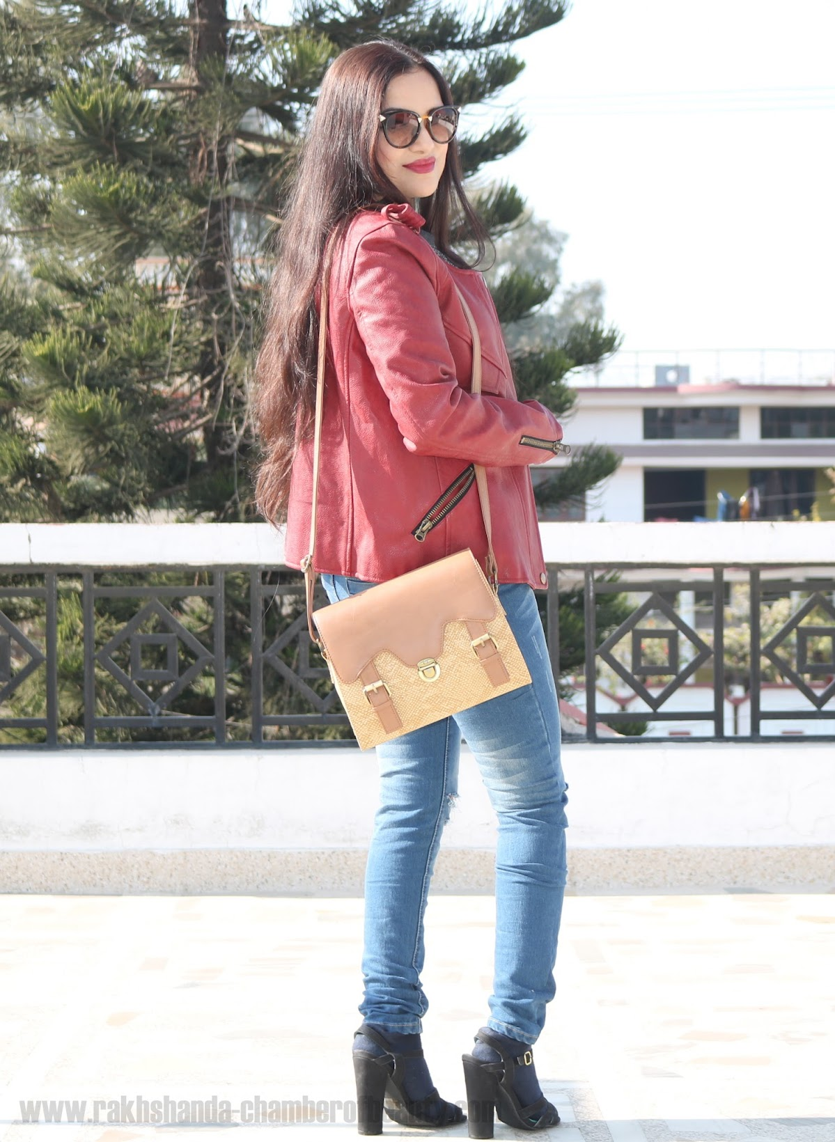 fashion, Front Row Shop, Indian fashion blogger, leather jacket, OOTD, styling a leather jacket, Vero Moda, winter fashion, Chamber Of Beauty, top fashion blog in India, how to style a burgundy leather jacket, ripped jeans