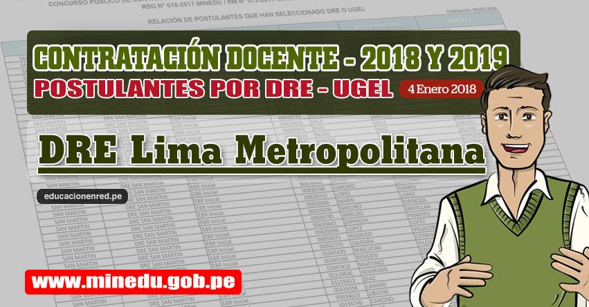 DRE Lima Metropolitana: Lista de Postulantes por UGEL DRE - Contrato Docente 2018 (.PDF) www.drelm.gob.pe