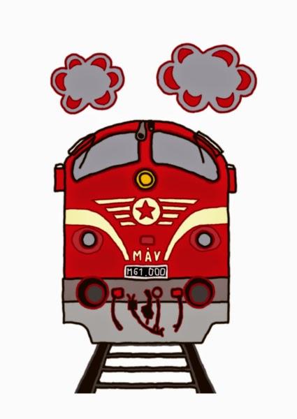 Illusztráció gyerekvershez, MÁV szerelvény előtt, kötöttpályán haladó csíkos festésű M61 Nohab mozdony, a vonat felett piros dízelfüst úszik.
