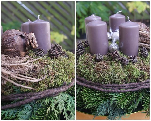 DIY Doppelstöckiger Adventskranz mit Amaryllis und Zapfen