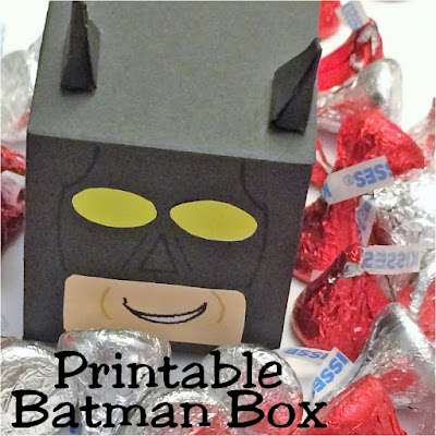 Enjoy a little fun at your Batman party with this printable Lego Batman party favor box.  These boxes are quick and easy to print up and best of all, its a free printable to make your party super.