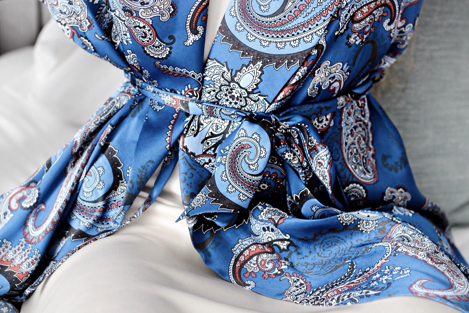 Bonsoir of London Blue Silk Paisley Dressing Gown