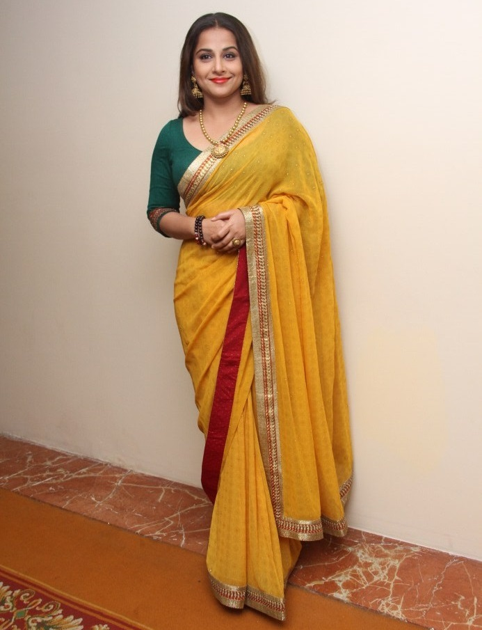 Vidya Balan Gorgeous Photos In Yellow Saree 2016