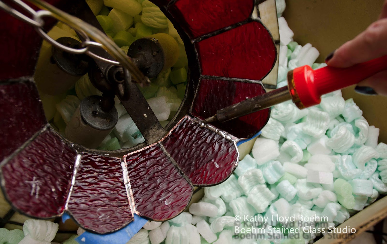 Boehm Stained Glass Blog: Fruit Lamp Repair