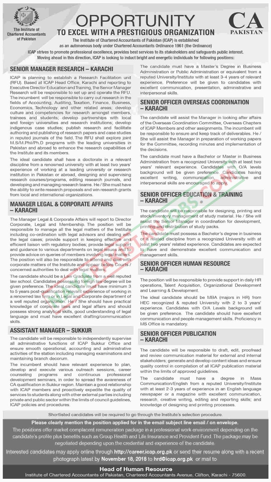 Latest Vacancies Announced in The Institute Of Chartered Accountants Of Pakistan 5 November 2018 - Naya Pakistan