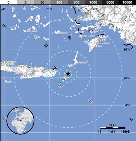 Epicentro sismo 6,1 grados en las costa s de Creta, Grecia, 16 de Abril 2015