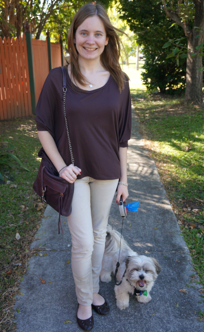 away from blue brown top shoes pastel skinny jeans purple bag OOTD