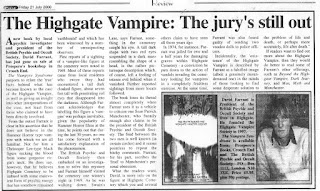 Un article de journal au sujet du Vampire de Highgate