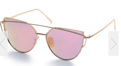 Gold-Metal-Frame-Double-Bridge-Pink-Lens-Sunglasses