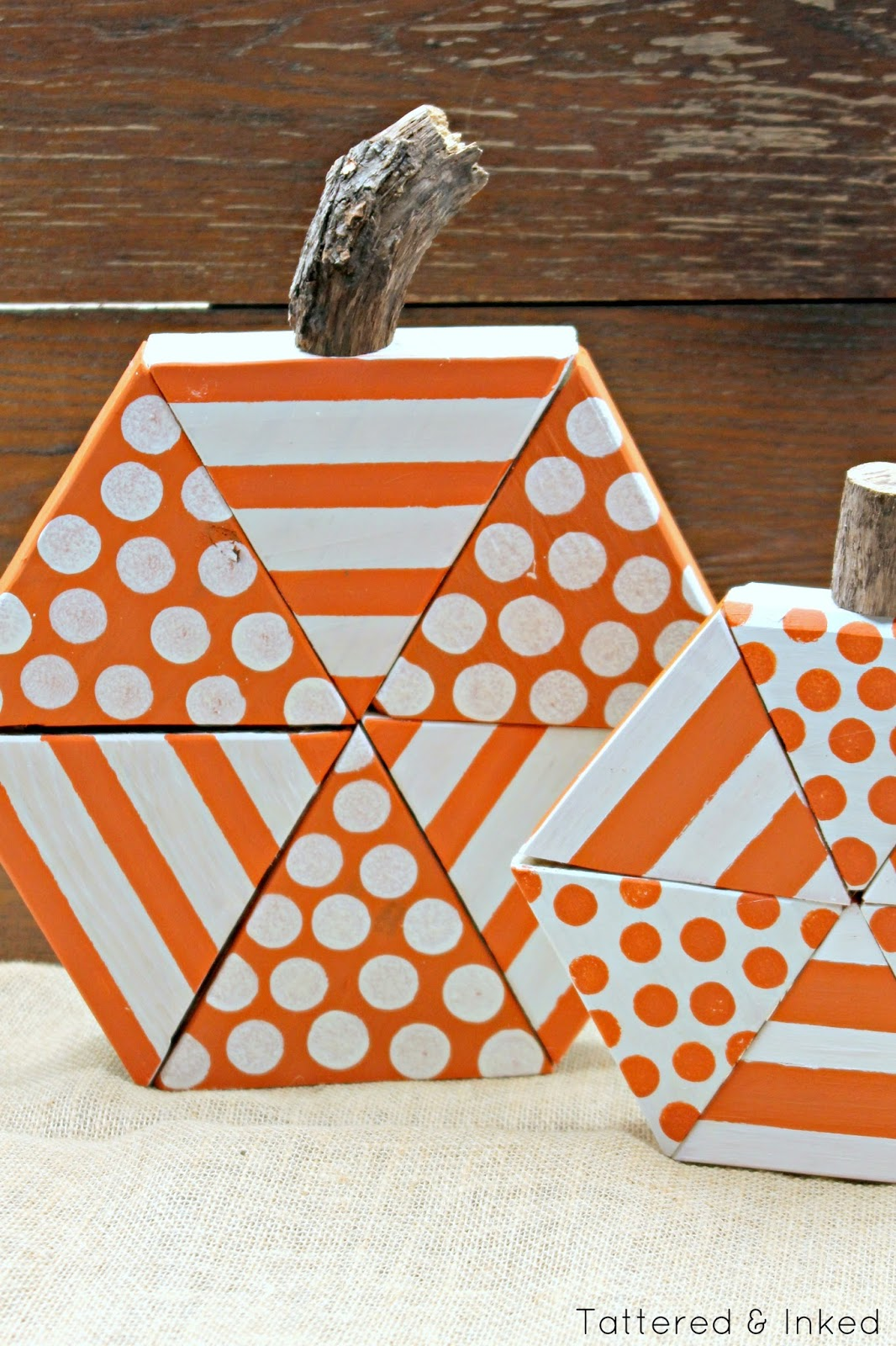 Tattered And Inked Diy Triangle Block Wooden Pumpkins