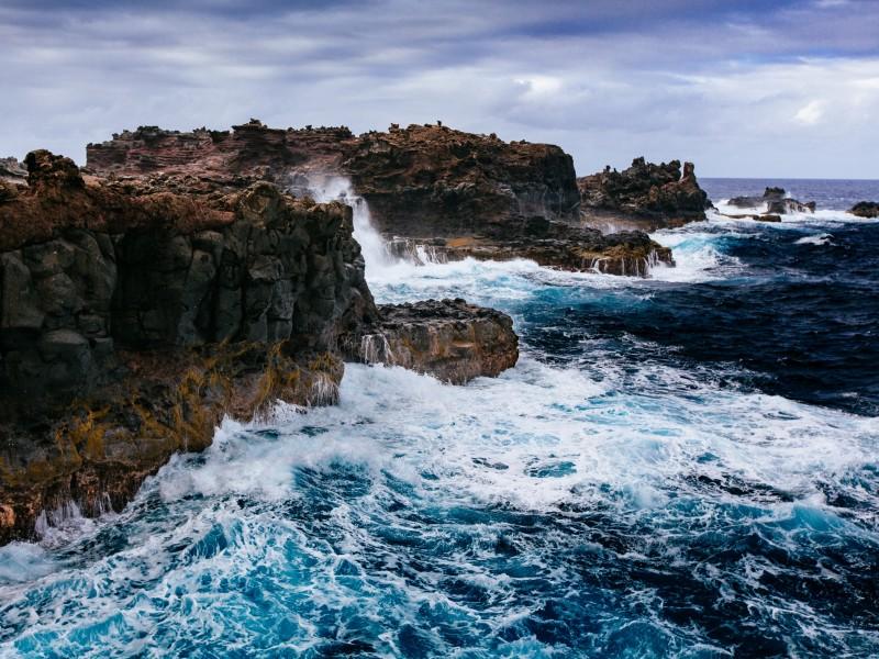Download Huge Waves Slamming on Black and Brown Huge Rocks HD wallpaper. Click Visit page Button for More Images.