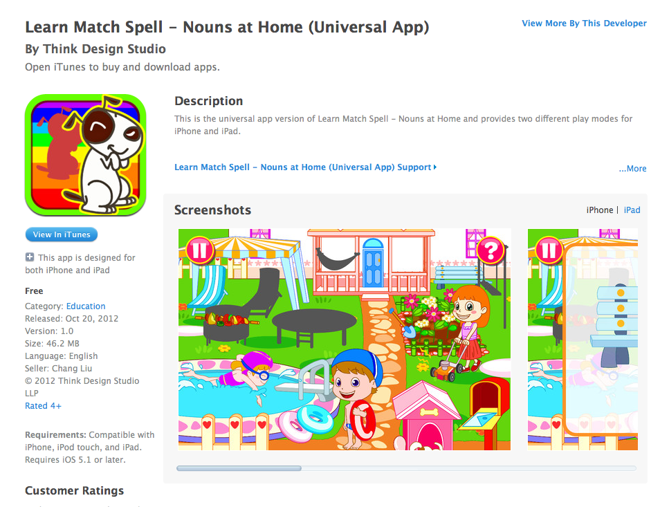 Free iOS App Today - Learn Match Spell - Nouns at Home