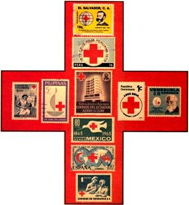 Dibujo de una cruz con estampitas sobre la Cruz Roja