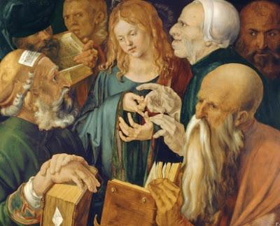 Dibujo de Jesús rodeado de doctores por Alberto Durero