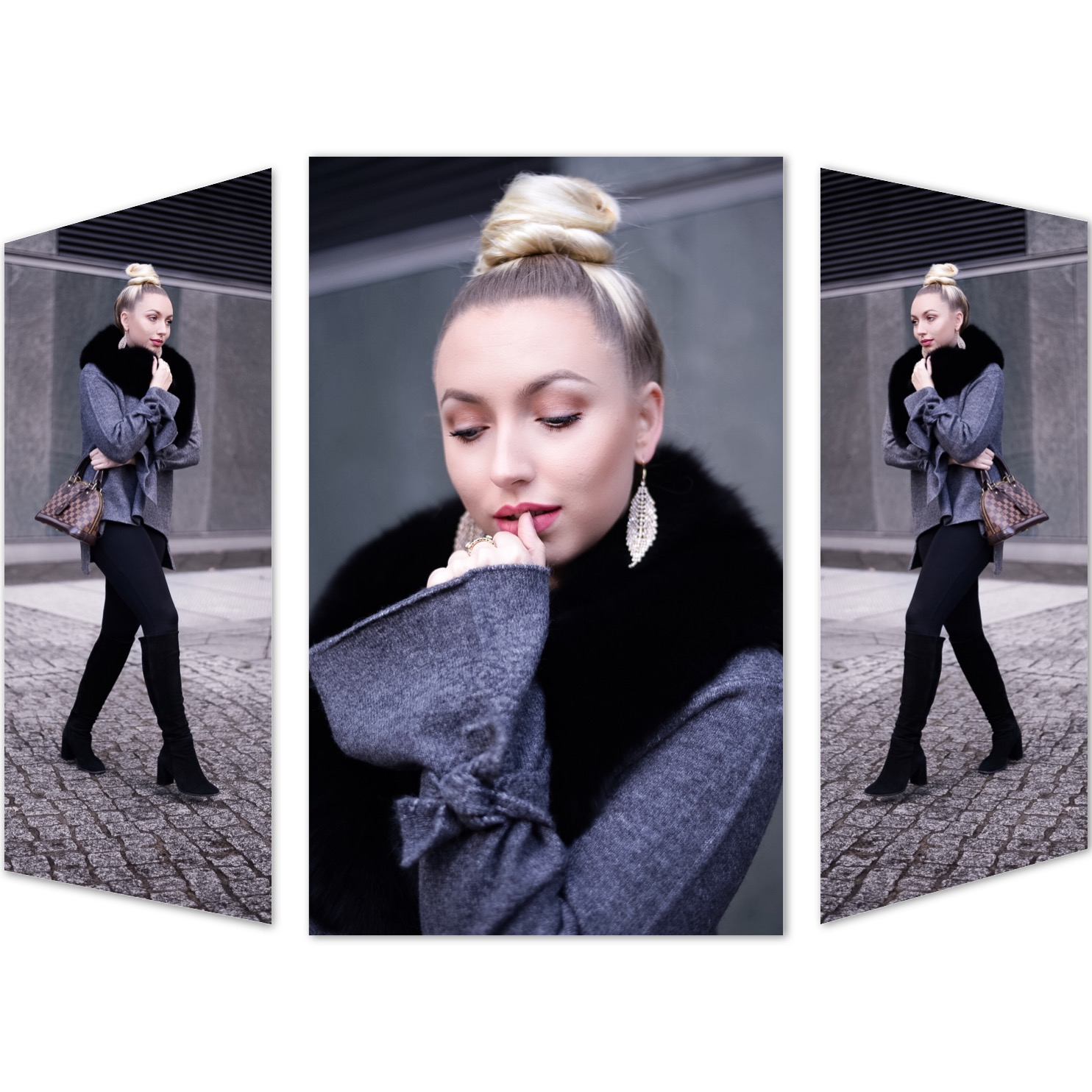 high bun_top bun_portrait_blonde girl_polish girl_fashionblogger germany_knee high boots